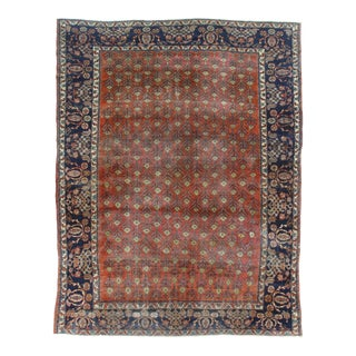 Antique Hand Knotted Wool Mahal Rug - 8′9″ × 11′3″