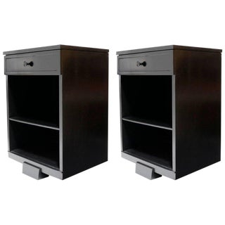 Pair of Black Stained Nightstands by Mengel