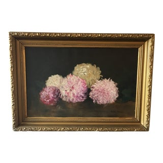 Antique Still Life Pink Flowers Painting