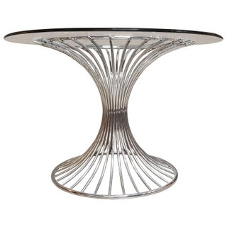 Chrome and Glass Hourglass Dining Table