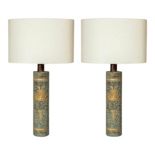 Pair of Mid-Century Tribal Stoneware Lamps in the Style of James Mont