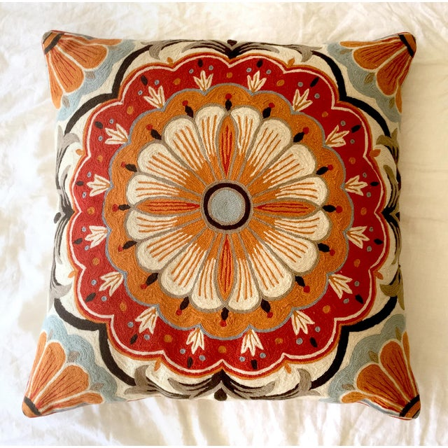 Large Suzani Crewelwork Pillow - Image 2 of 7