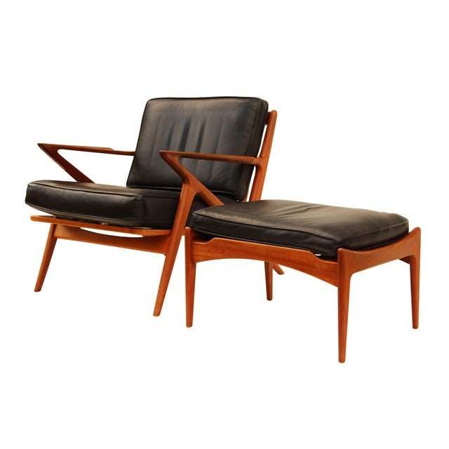 Poul Jensen For Selig Teak And Leather Z Chair Ottoman Chairish