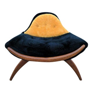 Mid-Century Walnut Trim Gondola Chair