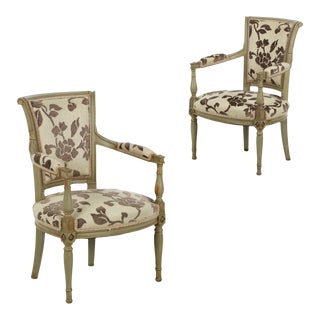 French Directoire Style Green Painted Arm Chairs - A Pair