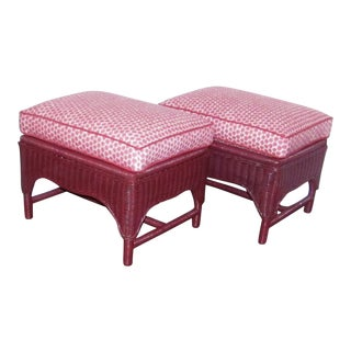 Vintage Reupholstered Red Wicker Ottomans - A Pair