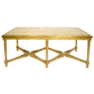 Carved Italian Gilt-wood Coffee Table With Marble Top by Randy Esada Designs