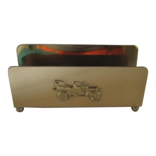 Vintage Brass Letter Holder with Car