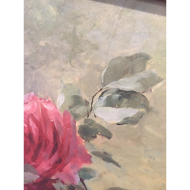 Vintage Still Life Roses in Basket Lithograph on Board - Furcy De Lavault - Image 7 of 10