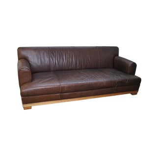 Baker Furniture Brown Leather Large Box Sofa