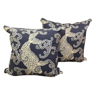 Large Blue Koi Fish Pillows - A Pair