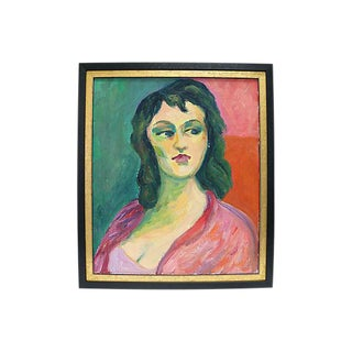 1950s French Oil Portrait Of Lady