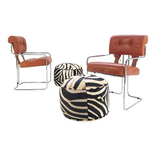 Italian Leather Tucroma Chairs by Mariani for Pace Collection With Zebra Hide Pouf Ottomans - Set of 4