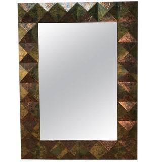 Large Copper and Brass Clad Faceted Mirror
