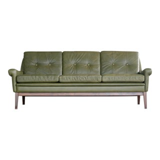 Svend Skipper Three-Seat Sofa in Green Leather, Denmark, 1960s