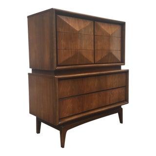 Vintage Diamond Front Highboy Dresser
