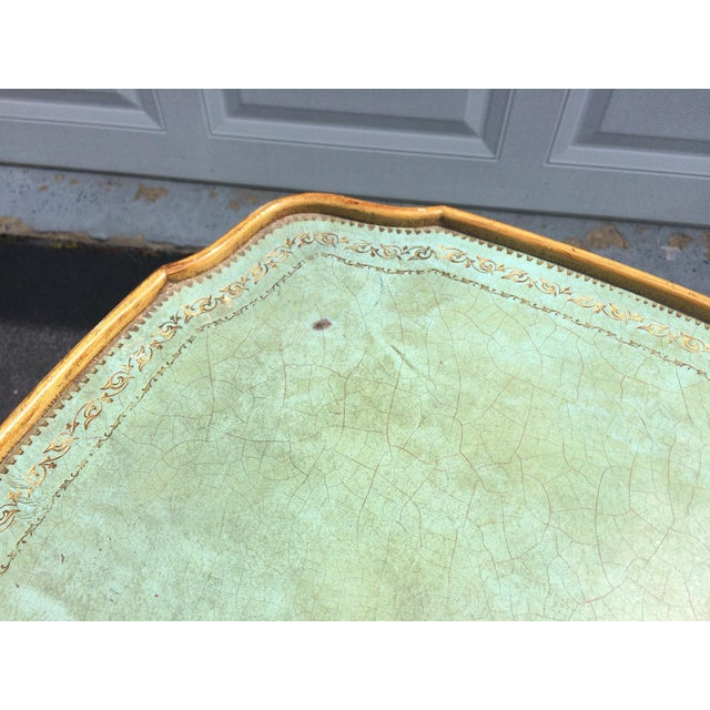 French Provincial Leather Top Side Table - Image 4 of 8