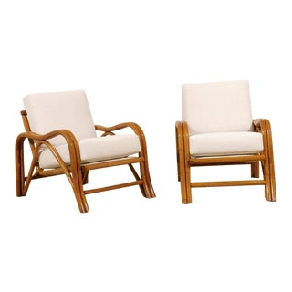 Fantastic Pair of Restored Vintage Modern Rattan Loungers