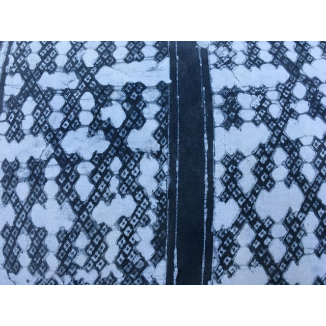 Gray Batik Cotton Tribal Pillow - Image 6 of 7
