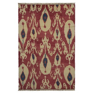 "Modern Turkish Tulu Rug with Contemporary Ikat Style -- 9'1"" x 13'5"""