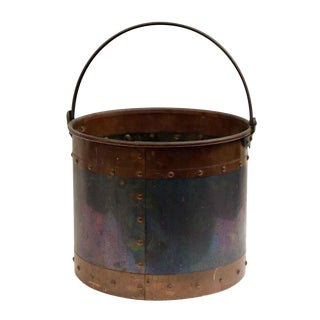 Studded Metal Bucket With Copper Band