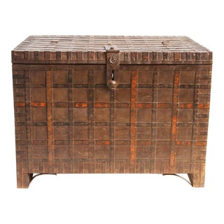 Antique Wood & Iron Indian Trunk
