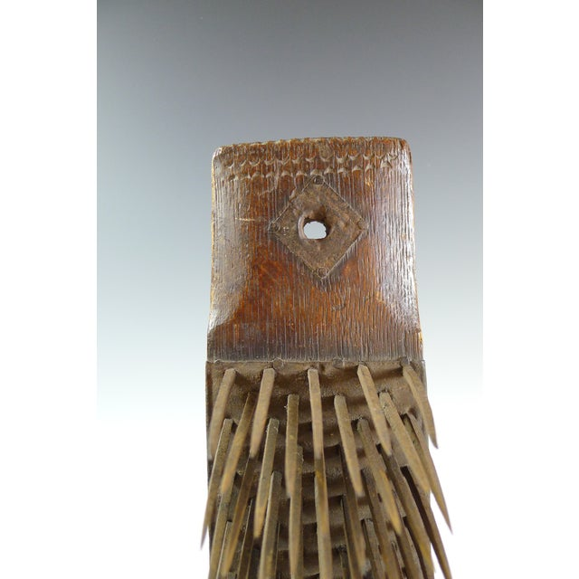 Image of Antique 19th Century Wood and Iron Flax Comb Tool