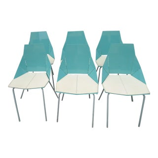 "Blu Dot ""Real Good Chair"" Blue Metal Origami Chairs - Set of 6"