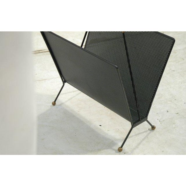 Modernist Mid Century Pierced Metal Magazine Rack with Brass Accents - Image 4 of 4