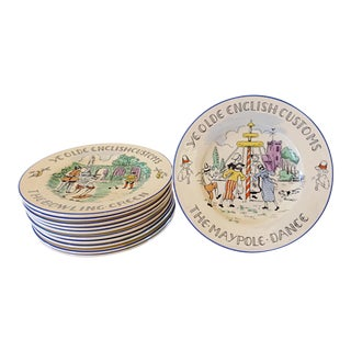 Staffordshire English Plates of Customs - Set of 9