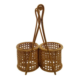 Retro Bamboo & Cane Wine Carrier