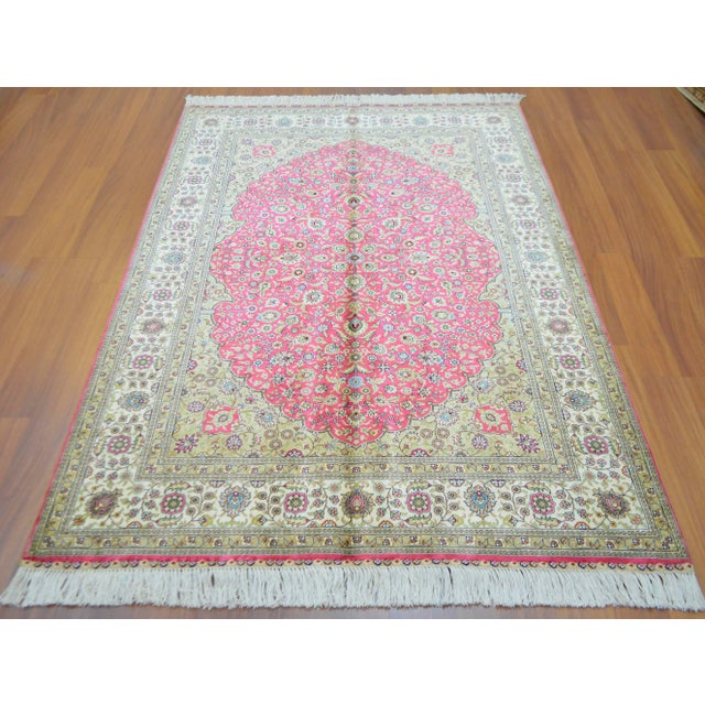 Hand Knotted Turkish Silk Rug - 4′ × 5′10″ - Image 2 of 9