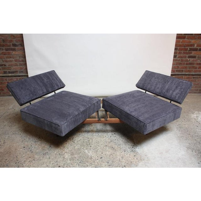Danish Modern Convertible Daybed/Sofa on Chrome and Walnut Base - Image 10 of 11