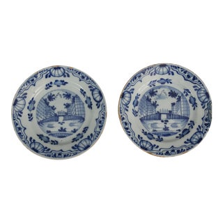 Antique Dutch Delft Chinoiserie Plates- A Pair
