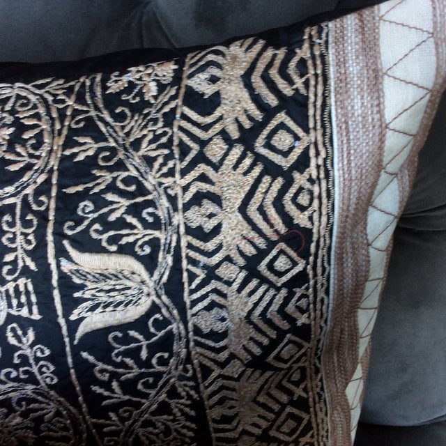 Embroidered Handwoven Silk Pillows - A Pair - Image 4 of 6