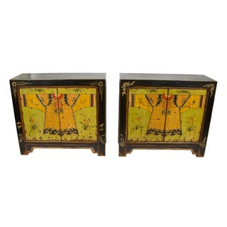 Hand-Painted Chinese Warrior Cabinet - A Pair