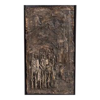 Handsome Brutalist Mid-century Cast Relief of Ceremonial Scene in Bronze Finish