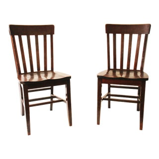 Vintage Wood Banker Chairs - A Pair