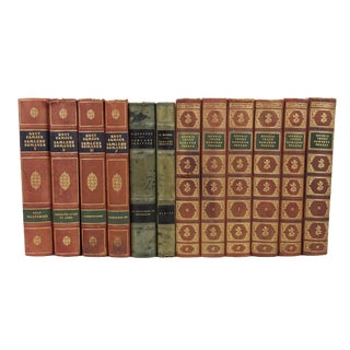 Art Deco Leather-Bound Books - Set of 12