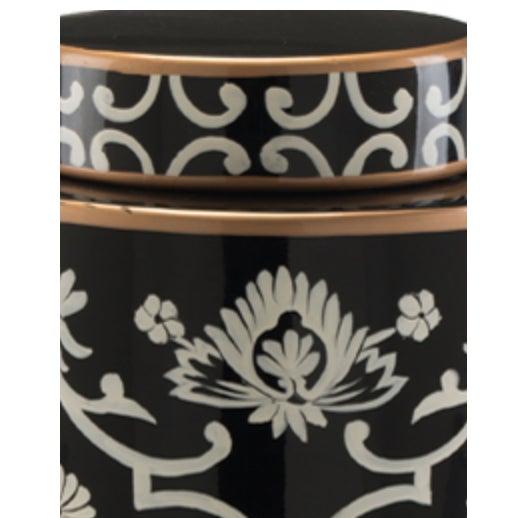 Image of John Richards Floral Black & White Jar