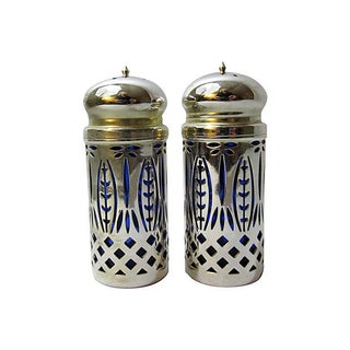 Silver & Cobalt Salt & Pepper Set