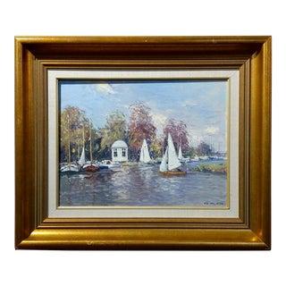 """Niek Van Der Plas """"The Harbor in Warmond"""" Oil Painting"""