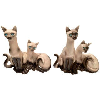 Vintage Siamese Twin Ceramic Cat Lamps - a Pair