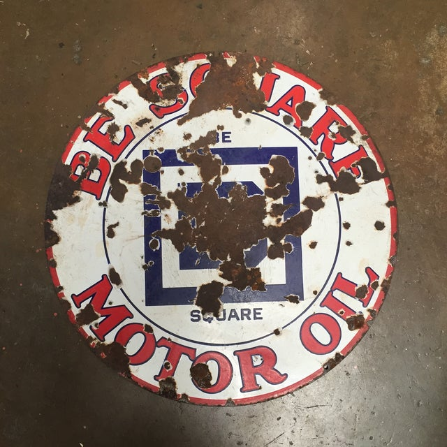 Large Be Square Motor Oil Sign Vintage Industrial - Image 6 of 6