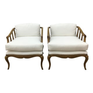 White Damask & Carved Wood Low Chairs - A Pair