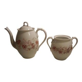 Antique Austrian Porcelain Aderco & Co. Coffee/Tea Pot & Matching Sugar Bowl
