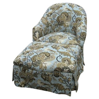 Chair & Ottoman in Schumacher Clarendon Fabric