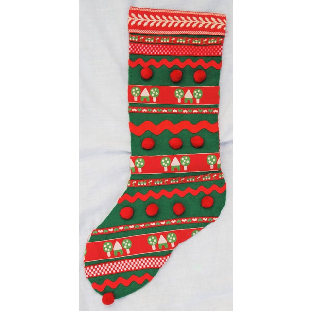 Vintage 1960s Handmade Green Christmas Stocking - Image 7 of 7