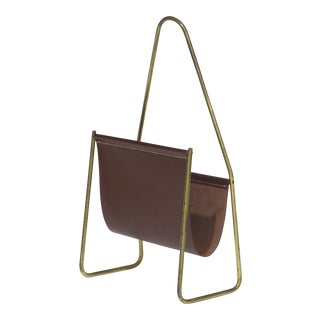 Carl Aubock Leather and Brass Magazine Rack