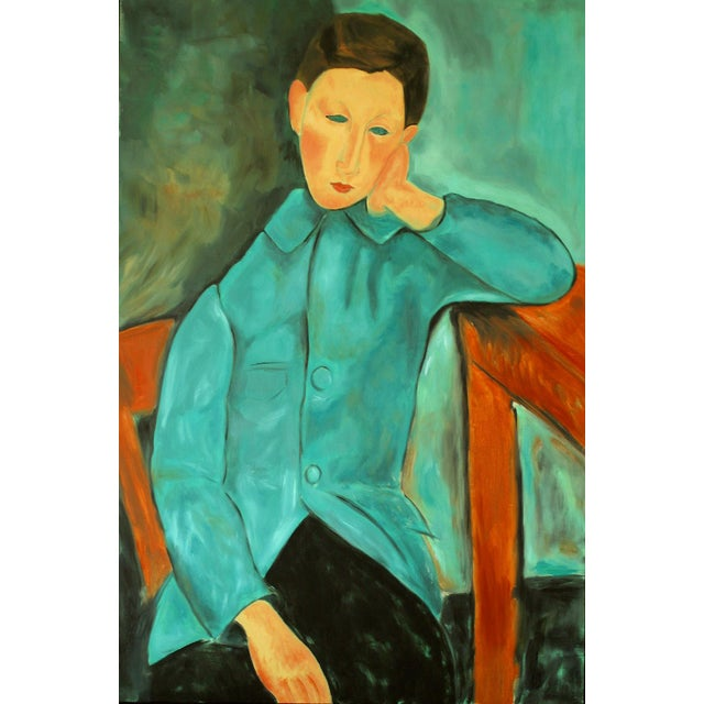 """""""Boy in Green"""" Oil Painting After Modigliani by Trixie Pitts - Image 1 of 5"""